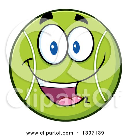 Clipart of a Cartoon Happy Tennis Ball Character Mascot - Royalty Free Vector Illustration by Hit Toon