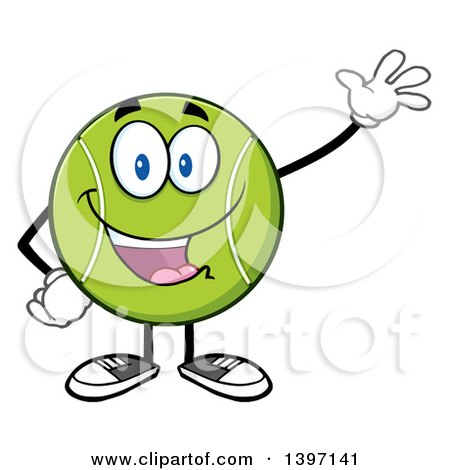 Clipart of a Cartoon Happy Tennis Ball Character Mascot Waving - Royalty Free Vector Illustration by Hit Toon