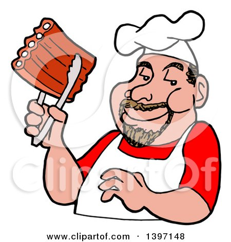 Clipart of a Happy White Male BBQ Chef Holding Ribs with Tongs - Royalty Free Vector Illustration by LaffToon