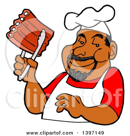 Clipart of a Happy Black Male BBQ Chef Holding Ribs with Tongs - Royalty Free Vector Illustration by LaffToon