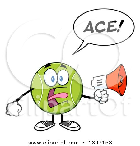 Clipart of a Cartoon Tennis Ball Character Mascot Shouting Ace Through a Megaphone - Royalty Free Vector Illustration by Hit Toon