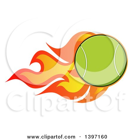 Clipart of a Fast Flaming Tennis Ball - Royalty Free Vector Illustration by Hit Toon