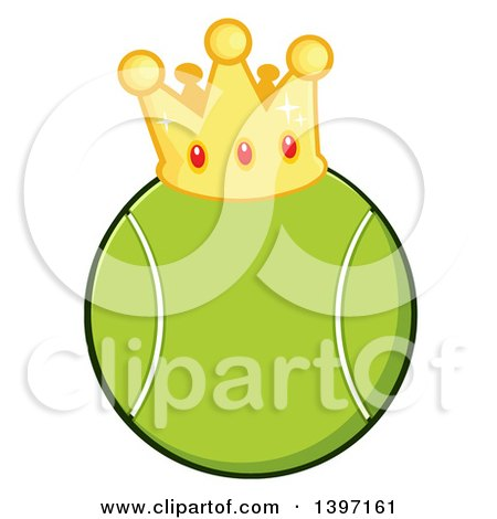 Clipart of a Cartoon Tennis Ball Wearing a Crown - Royalty Free Vector Illustration by Hit Toon