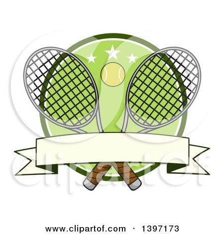 Clipart of a Ball over Crossed Tennis Rackets and a Green Circle with Stars and a Blank Banner - Royalty Free Vector Illustration by Hit Toon