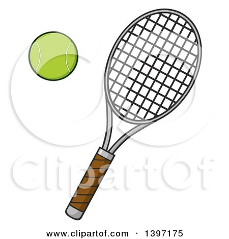 Clipart of a Tennis Racket and Ball - Royalty Free Vector Illustration by Hit Toon