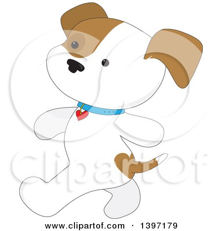 Clipart of a White White and Brown Puppy Dog Walking Upright - Royalty Free Vector Illustration by Maria Bell