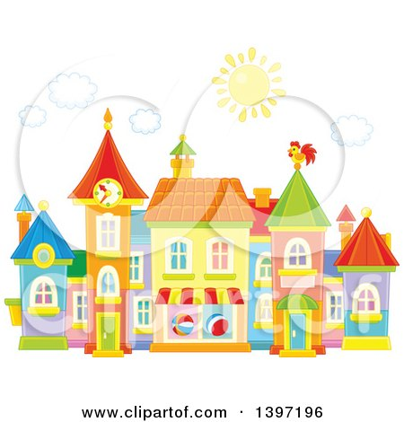 Clipart of a Colorful Toy Town Village - Royalty Free Vector Illustration by Alex Bannykh