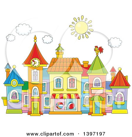 Clipart of a Cartoon Toy Town Village - Royalty Free Vector Illustration by Alex Bannykh