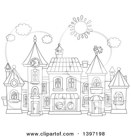 Clipart of a Cartoon Black and White Lineart Toy Town Village - Royalty Free Vector Illustration by Alex Bannykh