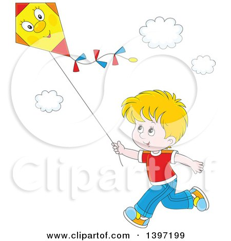 Clipart of a Happy Blond White Boy Running and Flying a Kite - Royalty Free Vector Illustration by Alex Bannykh