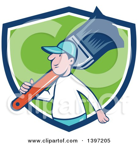 Clipart of a Retro Cartoon White Male House Painter Carrying a Giant Brush on His Shoulder, Emerging from a Blue White and Green Shield - Royalty Free Vector Illustration by patrimonio