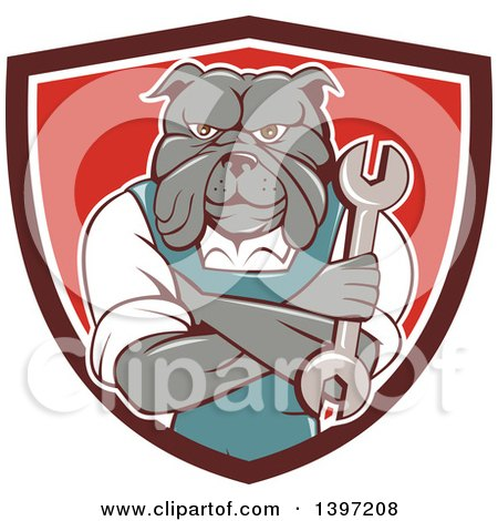 Clipart of a Cartoon Bulldog Man Mechanic with Folded Arms, Holding a Wrench in a Shield - Royalty Free Vector Illustration by patrimonio
