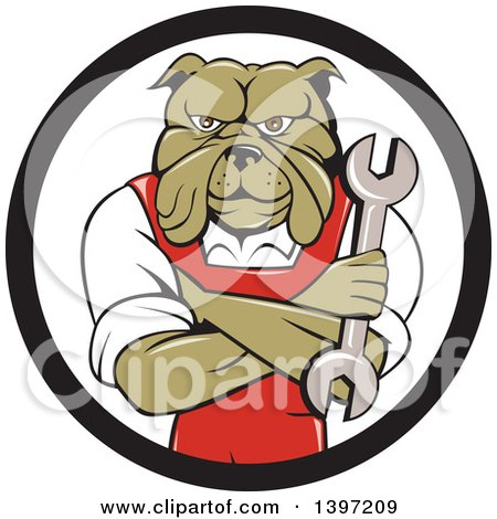 Clipart of a Cartoon Bulldog Man Mechanic with Folded Arms, Holding a Wrench in a Black and White Circle - Royalty Free Vector Illustration by patrimonio