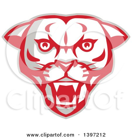 Clipart of a Retro Fierce Mountain Lion Puma Cougar Face - Royalty Free Vector Illustration by patrimonio