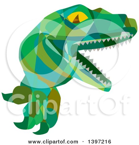 Clipart of a Low Polygon Lizard, Raptor or Tyrannosaurus Rex - Royalty Free Vector Illustration by patrimonio
