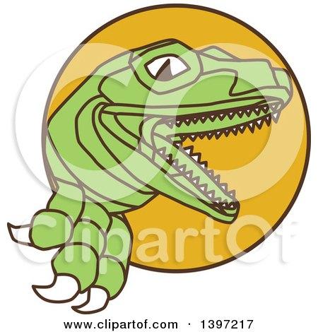 Clipart of a Lizard, Raptor or Tyrannosaurus Rex - Royalty Free Vector Illustration by patrimonio