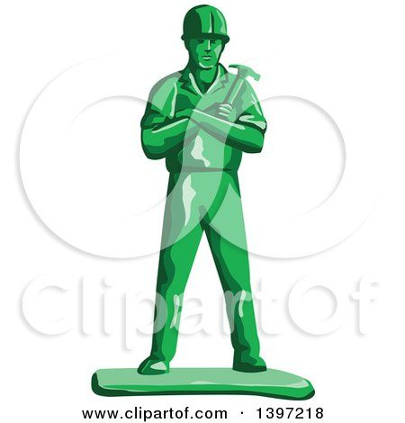 Retro Green Toy Male Carpenter or Builder with Folded Arms, Holding a Hammer Posters, Art Prints