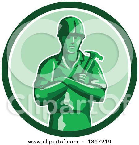Retro Green Toy Male Carpenter or Builder with Folded Arms, Holding a Hammer in a Circle Posters, Art Prints
