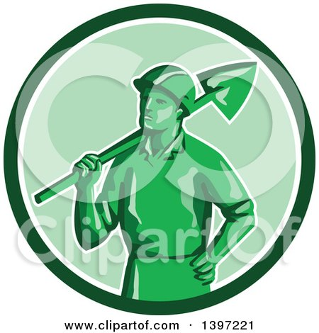 Clipart of a Retro Green Toy Miner Worker Holding a Shovel - Royalty Free Vector Illustration by patrimonio