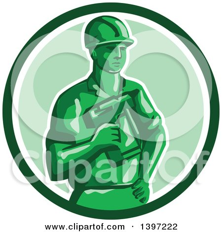 Retro Green Toy Construction Worker Holding a Nail Gun in a Circle Posters, Art Prints
