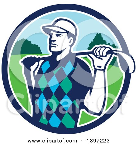 Clipart of a Retro Male Golfer Stretching with a Club over His Shoulders, in a Blue White and Green Circle - Royalty Free Vector Illustration by patrimonio
