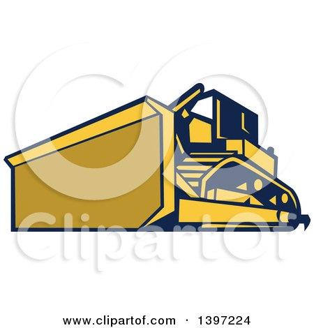 Retro Yellow and Blue Bulldozer Construction Machine Posters, Art Prints
