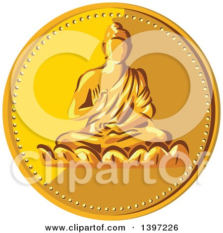 Clipart of a Gold Coin Medallion of Buddha - Royalty Free Vector Illustration by patrimonio