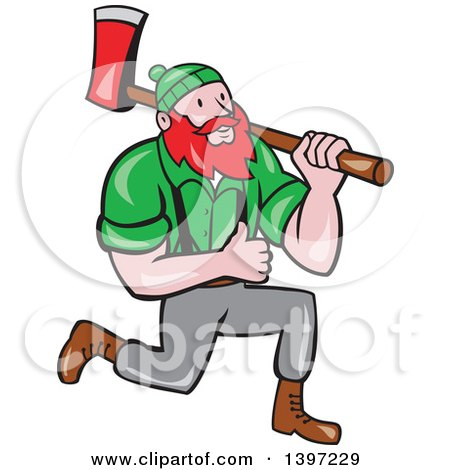 Clipart of a Cartoon Red Haired Lumberjack, Paul Bunyan, Kneeling, Carrying an Axe and Giving a Thumb up - Royalty Free Vector Illustration by patrimonio