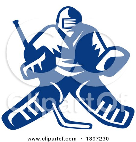 Clipart of a Retro Blue and White Hockey Player Goalie - Royalty Free Vector Illustration by patrimonio