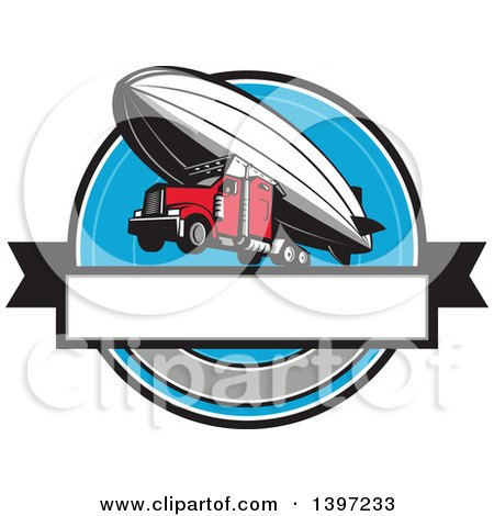 Clipart of a Retro Big Rig Truck Flying, Attached to a Zeppelin Blimp - Royalty Free Vector Illustration by patrimonio