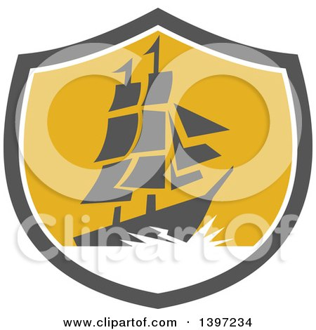 Clipart of a Retro Galleon Ship with Lightning in a Gray White and Yellow Shield - Royalty Free Vector Illustration by patrimonio