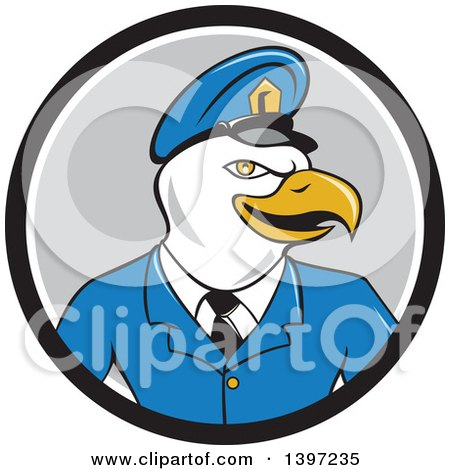 Clipart of a Cartoon Bald Eagle Police Officer Man in a Black White and Gray Circle - Royalty Free Vector Illustration by patrimonio