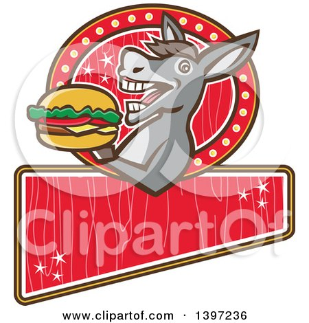 Clipart of a Retro Donkey About to Take a Bite out of a Cheeseburger on a Red Sign - Royalty Free Vector Illustration by patrimonio