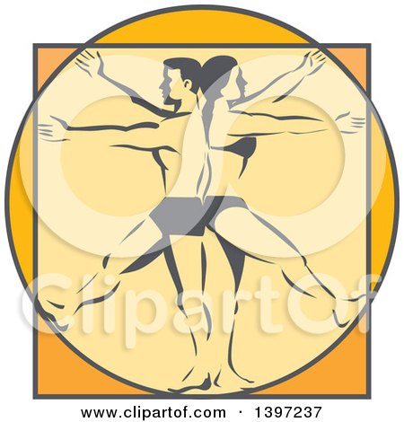 Clipart of a Retro Da Vinci Vitruvian Man and Woman Standing Back to Back - Royalty Free Vector Illustration by patrimonio
