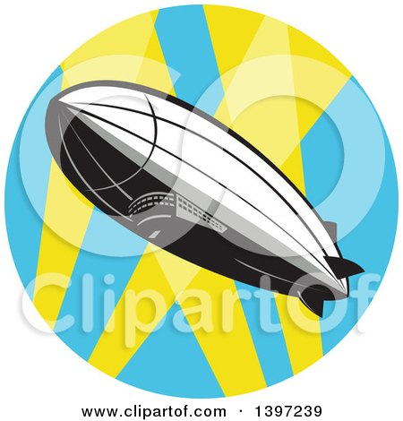 Clipart of a Retro Zeppelin Blimp in a Circle of Spot Lights - Royalty Free Vector Illustration by patrimonio