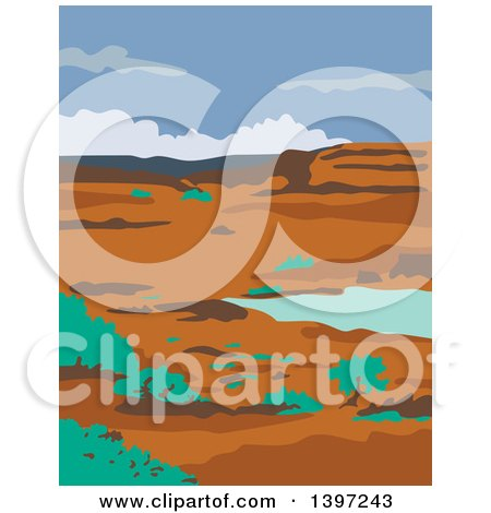 Clipart of a WPA Styled Columbian Basin Desert Water Basin Landscape - Royalty Free Vector Illustration by patrimonio