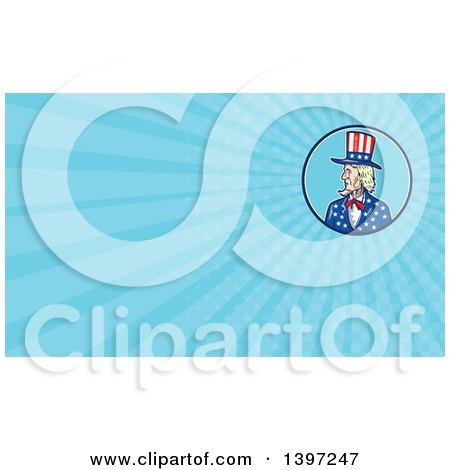 Clipart of a Cartoon Patriotic American Uncle Sam and Blue Rays Background or Business Card Design - Royalty Free Illustration by patrimonio