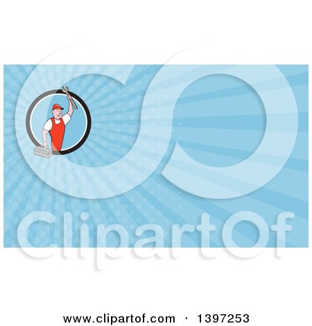 Retro Cartoon White Male Mechanic Holding a Tool Box and Wrench and Blue Rays Background or Business Card Design Posters, Art Prints