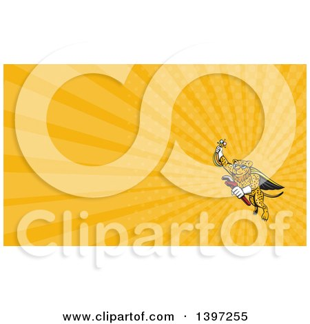 Clipart of a Cartoon Flying Super Leopard Refrigeration and Air Conditioning Mechanic Holding up a Pressure Temperature Gauge and a Monkey Wrench and Orange Rays Background or Business Card Design - Royalty Free Illustration by patrimonio