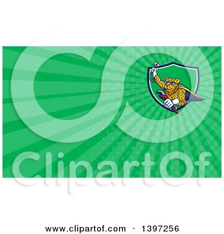 Clipart of a Cartoon Flying Super Leopard Refrigeration and Air Conditioning Mechanic Holding up a Pressure Temperature Gauge and a Monkey Wrench and Green Rays Background or Business Card Design - Royalty Free Illustration by patrimonio