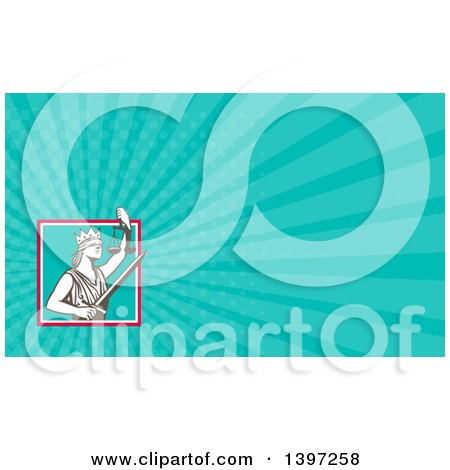 Clipart of a Retro Lady Justice Wearing a Crown, Holding a Sword and Scales in a Square and Turquoise Rays Background or Business Card Design - Royalty Free Illustration by patrimonio