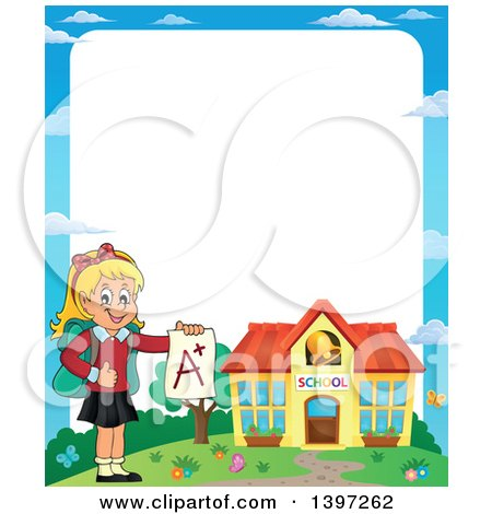 Clipart of a Border of a Blond Caucasian School Girl Holding an a Plus Report Card - Royalty Free Vector Illustration by visekart