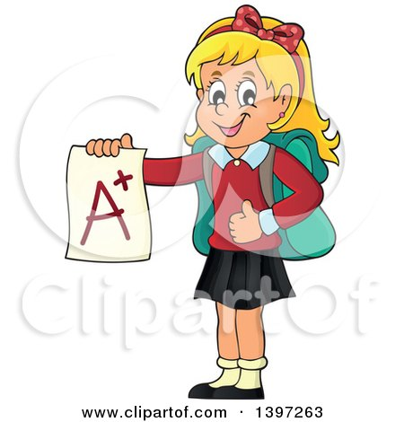 Clipart of a Blond Caucasian School Girl Holding an a Plus Report Card - Royalty Free Vector Illustration by visekart
