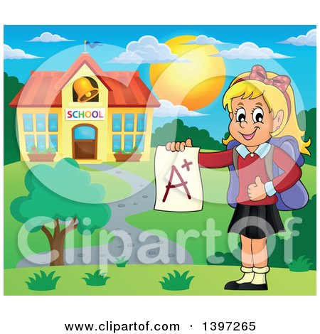 Clipart of a Blond Caucasian School Girl Holding an a Plus Report Card Outside of a Building - Royalty Free Vector Illustration by visekart