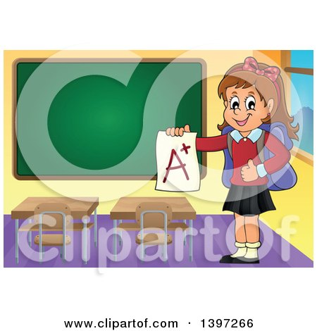 Clipart of a Brunette Caucasian School Girl Holding an a Plus Report Card in a Class Room - Royalty Free Vector Illustration by visekart