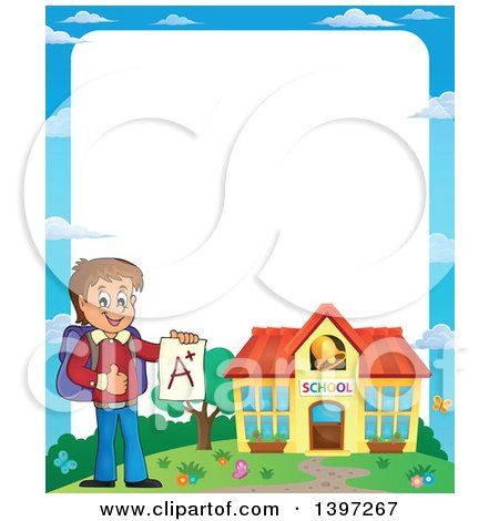 Clipart of a Border of a Brunette Caucasian School Boy Holding an a Plus Report Card - Royalty Free Vector Illustration by visekart