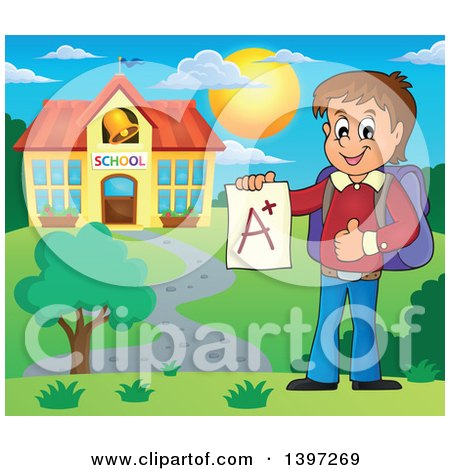 Clipart of a Brunette Caucasian School Boy Holding an a Plus Report Card on Campus - Royalty Free Vector Illustration by visekart