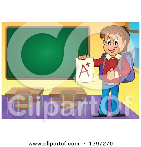 Clipart of a Brunette Caucasian School Boy Holding an a Plus Report Card in a Class Room - Royalty Free Vector Illustration by visekart