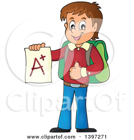Clipart of a Brunette Caucasian School Boy Holding an a Plus Report Card - Royalty Free Vector Illustration by visekart