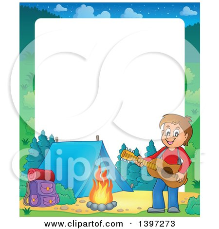 Clipart of a Border of a Brunette Caucasian Boy Playing a Guitar by a Camp Fire - Royalty Free Vector Illustration by visekart